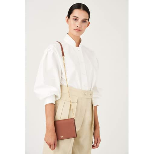 Oroton Margot Foldover Crossbody in Whiskey and Pebble Leather for female