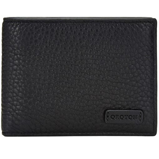 Oroton Preston 4 Credit Card Mini Wallet in Black and Pebble Leather for male
