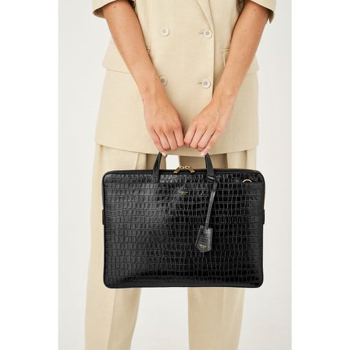"Oroton Muse 15"" Slim Laptop Bag in Black Croc and Croco Embossed Leather. Smooth for female"