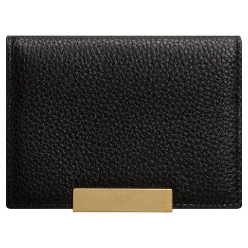 Oroton Voyage Mini Clutch Wallet in Black and Pebble Leather for female