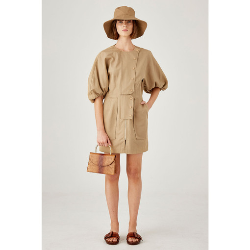 Oroton Cotton-Linen Full Sleeve Utility Dress in Pecan and 57% Cotton 43% Linen for female
