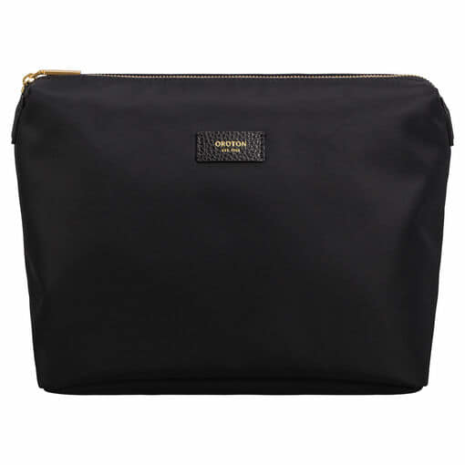 Oroton Ella Toiletry Case in Black and Nylon / Pebble Leather for female