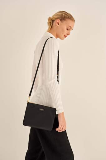 Oroton Ella Crossbody in Black and Nylon / Pebble Leather for female