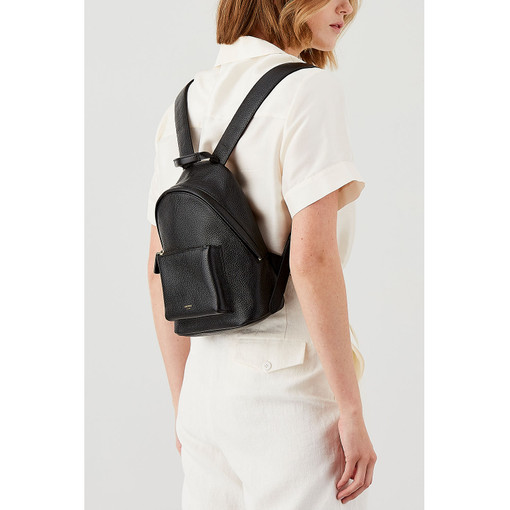 Oroton Avalon Small Backpack in Black and Pebble Leather for female