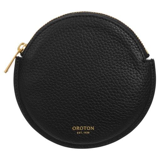 Oroton Eve Circle Coin Pouch in Black and Pebble Leather for female