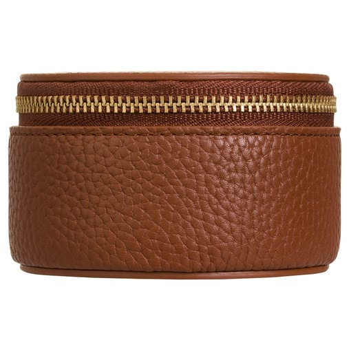 Oroton Eve Mini Circle Jewellery Case in Whiskey and Pebble Leather for female