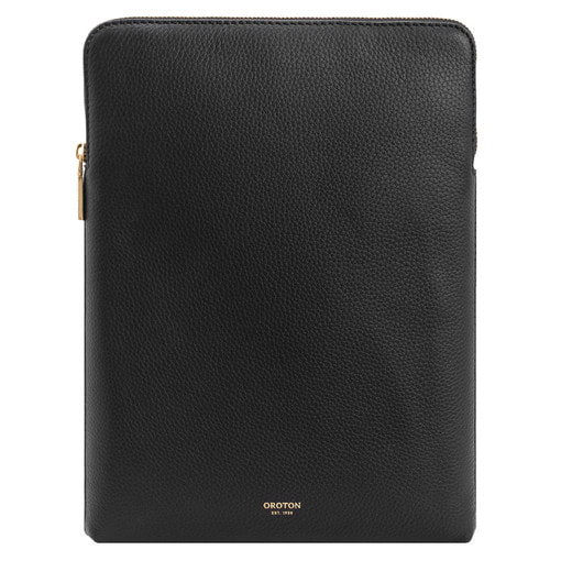 Oroton Margot Ipad Cover in Black and Pebble Leather for female