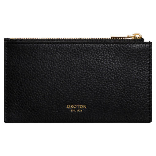 Oroton Margot 8 Credit Card Mini Zip Pouch in Black and Pebble Leather for female