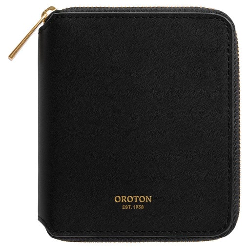 Oroton Maggie Small Zip Wallet in Black and Smooth Leather for female