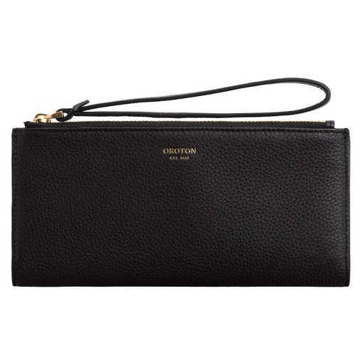 Oroton Margot Wristlet Fold Wallet in Black and Pebble Leather for female