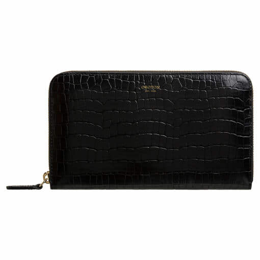 Oroton Forte Large Multi Pocket Zip Around Wallet in Black and Croco Emboss Leather for female