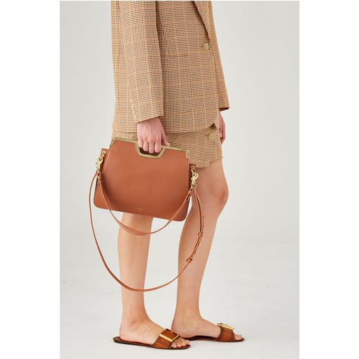 Oroton Coco Clutch in Pecan and Smooth Leather for female
