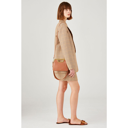 Oroton Coco Small Clutch in Pecan and Smooth Leather for female