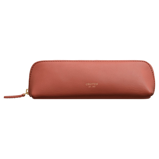 Oroton Venture Pencil Case in Auburn and Smooth Leather for female