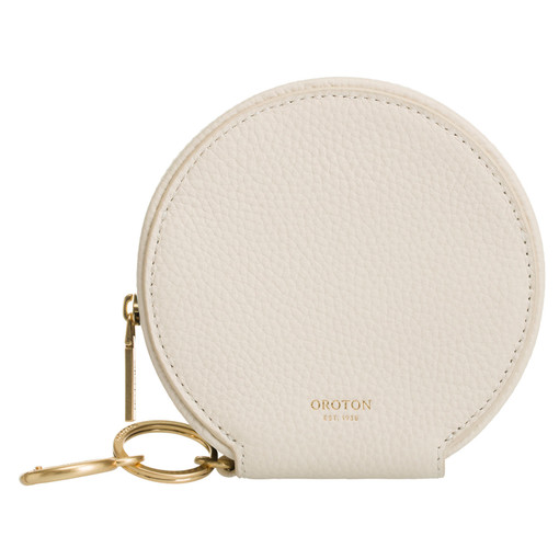 Oroton Capri Circle Wallet in Cream and Pebble Leather for female