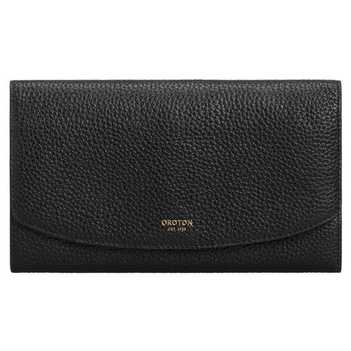 Oroton Avalon Jewellery Clutch in Black and Pebble Leather for female