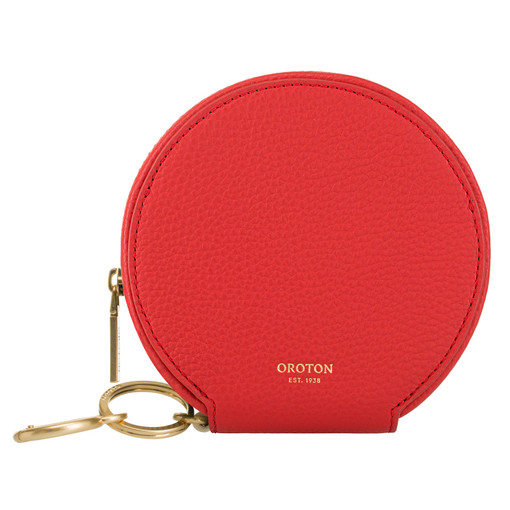 Oroton Capri Circle Wallet in Poppy and Pebble Leather for female