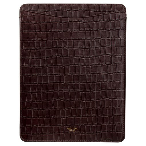 Oroton Muse Texture IPad Sleeve in Walnut Texture and Croc Effect Leather for female
