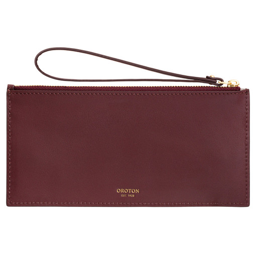 Oroton Frida 6 Credit Card Long Zip Pouch in Mahogany and Smooth Leather for female