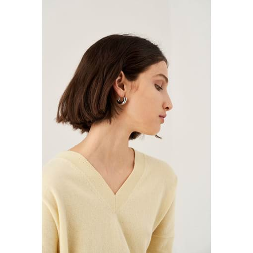 Oroton Emaille Swinging Hoops in Silver and Brass Based With Precious Metal Plating for female