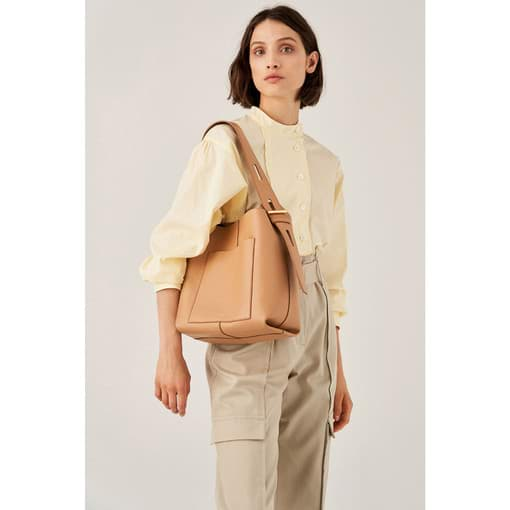 Oroton Cleo Hobo in Toast and Soft Smooth Leather for female