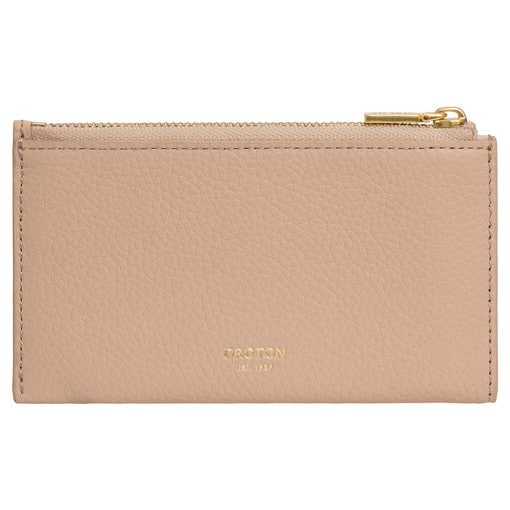 Oroton Margot 8 Credit Card Zip Pouch in Light Sand and Pebble Leather for female