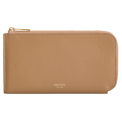 Oroton Anouk 12 Credit Card Zip Wallet in Toast and Pebble Leather for female