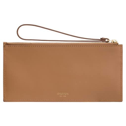 Oroton Frida 6 Credit Card Long Zip Pouch in Dark Rye and Smooth Leather for female