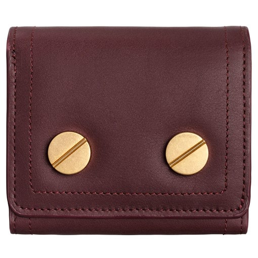 Oroton Bay Square Fold Wallet in Mahogany and Smooth Leather for female