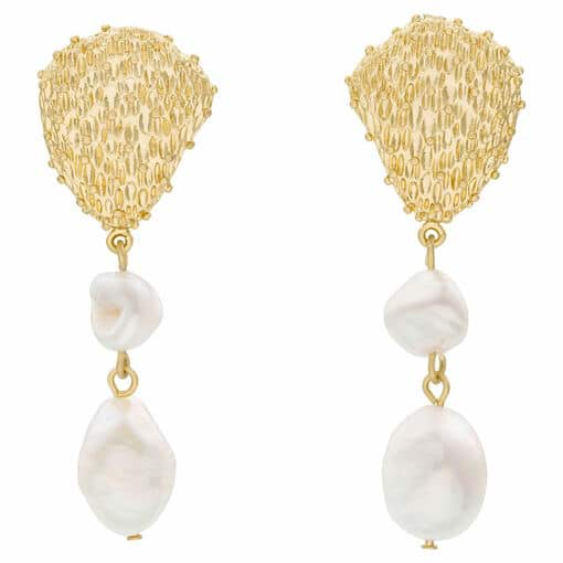 Oroton Aria Drop Earrings in Worn Gold and Brass Base Metal With Precious Metal Plating for female