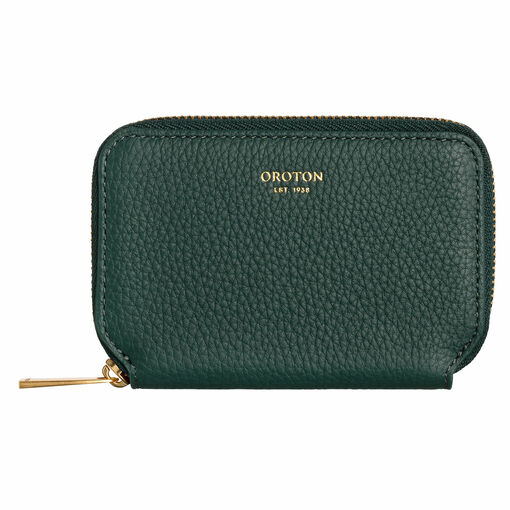 Oroton Lyla Mini 7 Credit Card Zip Wallet in Liquorice and Pebble Leather for female