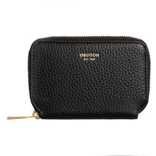 Oroton Lyla Mini 7 Credit Card Zip Wallet in Black and Pebble Leather for female