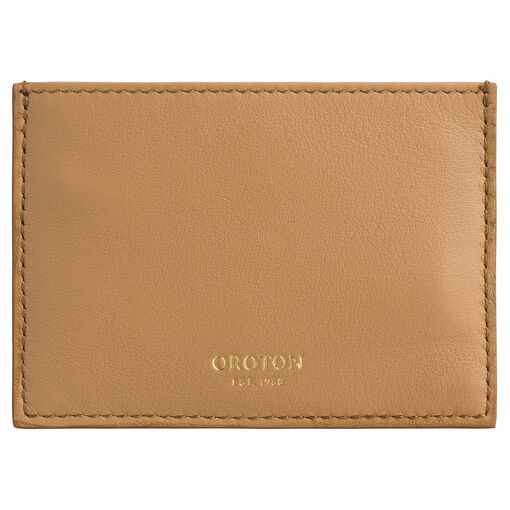 Oroton Cleo 3 Credit Card Sleeve in Toast and Soft Pebble Leather for female