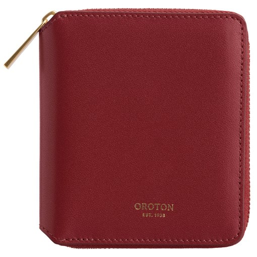 Oroton Isla Small Zip Wallet in Dark Red and Smooth Leather for female