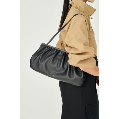 Oroton Celia XL Clutch in Black and Smooth Leather for female