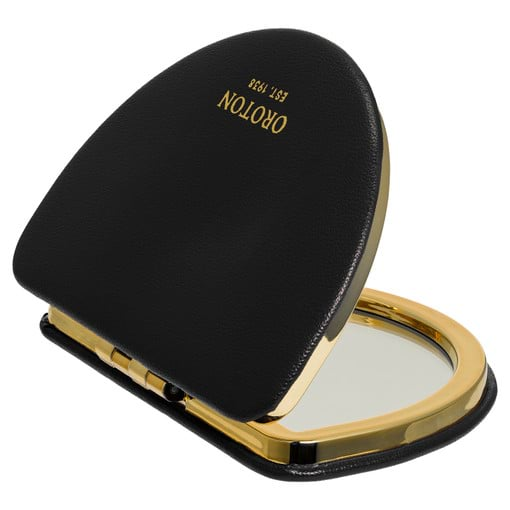 Oroton Olivia Compact Mirror in Black and Smooth PU for female