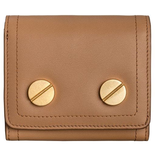 Oroton Bay Square Fold Wallet in Dark Rye and Smooth Leather for female