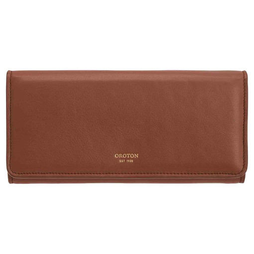 Oroton Elena Large Fold Wallet in Whiskey and Smooth Leather for female