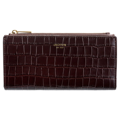 Oroton Muse Texture Slim Zip Wallet in Walnut Texture and Leather for female