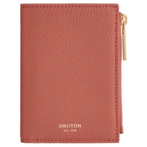 Oroton Duo Mini 10 Credit Card Zip Wallet in Deco Rose and Pebble Leather for female