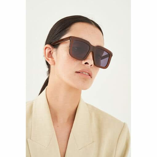 Oroton Valentina Sunglasses in Chestnut/Smoke and Acetate for female
