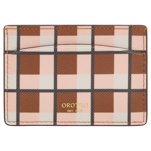 Oroton Inez Print Credit Card Sleeve in Cognac Check and Printed Saffiano PVC for female