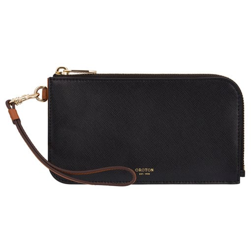 Oroton Harriet Phone Wristlet Wallet in Black and Shiny Soft Saffiano for female
