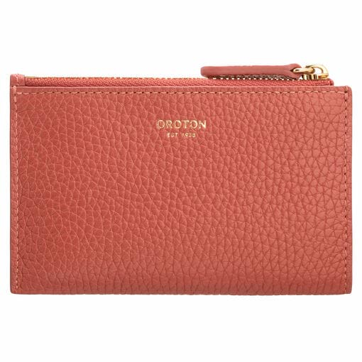 Oroton Avalon Mini 4 Credit Card Zip Pouch in Burnt Sienna and Pebble Leather for female