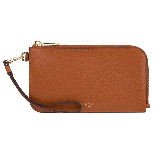 Oroton Harriet Phone Wristlet Wallet in Cognac and Shiny Soft Saffiano for female