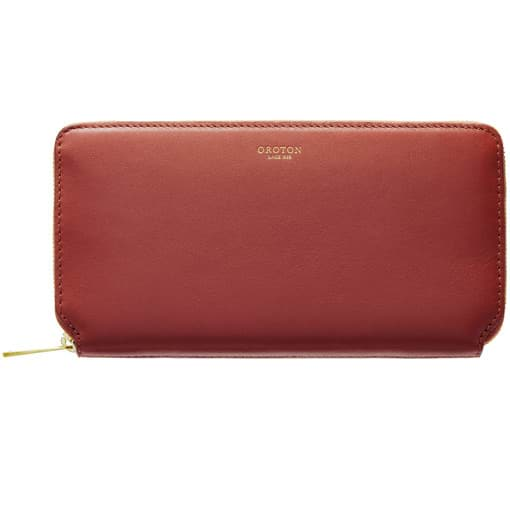 Oroton Solo Medium Zip Wallet in Light Rust and Nappa Leather for female