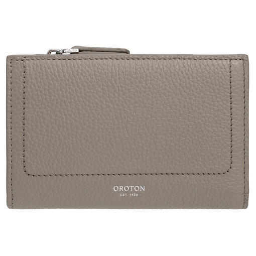 Oroton Lucy 12 Credit Card Zip Wallet in Stone and Pebble Leather for female