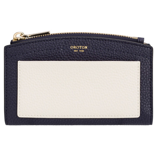 Oroton Atlas 10 Credit Card Zip Wallet in Midnight Blue and Pebble Leather for female