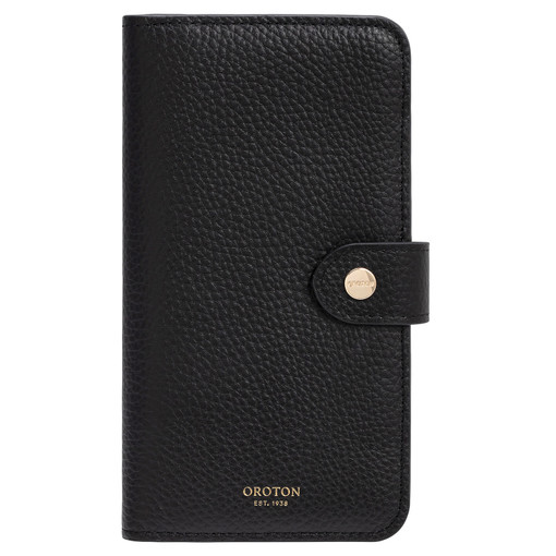 Oroton Lucy IPhone 11 Pro Max 6 Credit Card Zip Wallet in Black and Pebble Leather for female