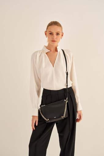 Oroton Nina Crossbody in Black and Soft Pebble Emboss for female